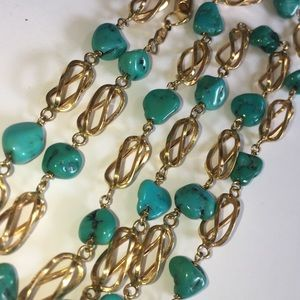 Solid 18KT Yellow Gold Stations Turquoise Necklace